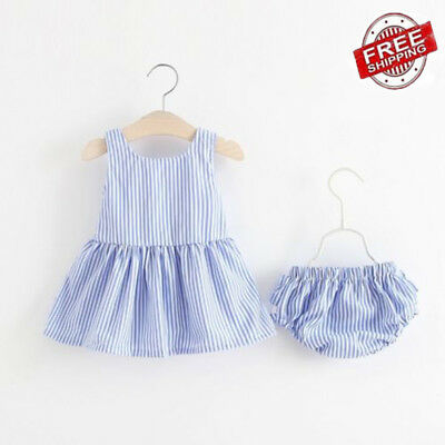 Kids Baby Girl Striped Bow Tutu Dress Tops+Shorts Pants Summer Outfit Clothes