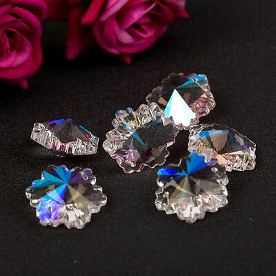 5-50PCS Clear Flower Snowflake Crystal Glass Beads Fr Jewelry Chandelier Pendent
