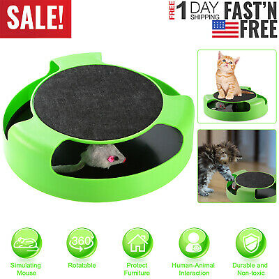 Cat Interactive Scratching Toy w/ Rotating Running Mouse Catching Plate US Stock