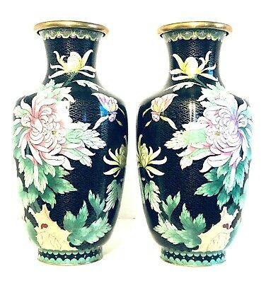 "LARGE Vintage Matched Pair of Chinese Hand Made Bronze Cloisonne Vases  13""H"