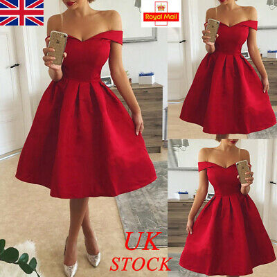 Womens Ladies V Neck Mini Dress Party Evening Prom Formal Bridesmaid Cocktail