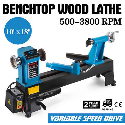 Digital Readout Benchtop Wood Lathe 10 X18 Infinitely Variable Live Center 550w