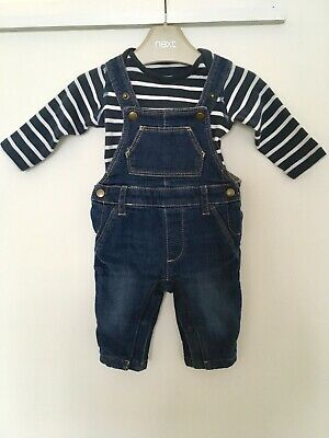Mark And Spencer Baby Boy 2 Piece Dungarees And Bodysuit Outfit 0-3 Months