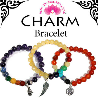 Black Tourmaline 7 Chakra Bracelet with Best Wishes Charm Natural Crystal Stone