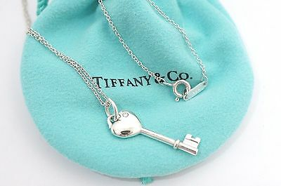 Tiffany & Co. Sterling Silver 1P Diamond Heart Key Pendant Necklace