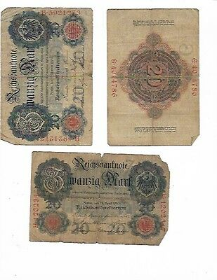 8a - LOT of FIVE (5) Vintage German 20 mark banknotes 1908 1910 1914 circulated