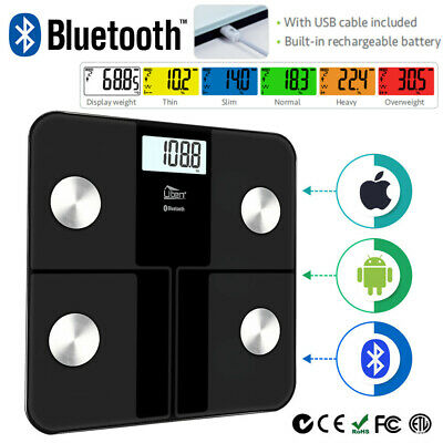 Bluetooth Digital Bathroom Scales Body Fat Bmi Analyser Weighing Usb Rechargable