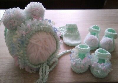Hand Knitted Baby Bonnet /  Hat, Mittens And Shoes. 0-3 Months.