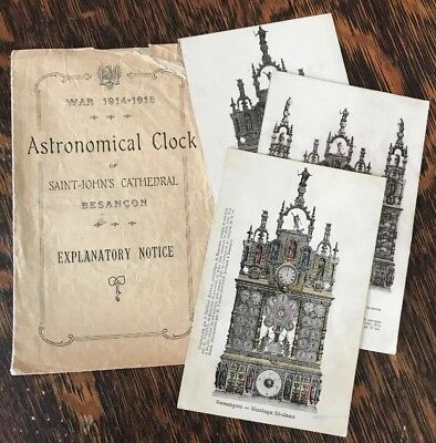 VTG Brochure Postcards Astronomical Clock Saint John's Cathedral Besancon 1918