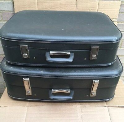 VINTAGE SUITCASES St Michaels X 2 - Stage Prop Wedding Storage WITH KEYS TO BOTH