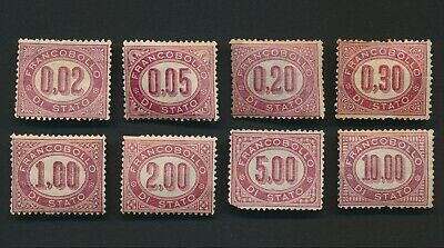 Italy Stamps 1878 Revenues Mint Set S1/8, Mint Og & Mng, Vf To Mixed