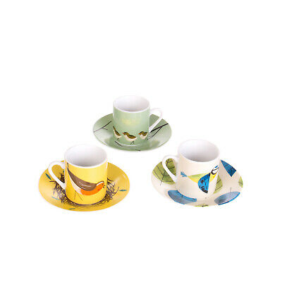 MAGPIE Birdy II Collection 3 Espresso Cups & 4 Saucers Designed in Britain