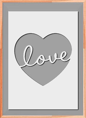 Love heart Sign Letters Stencil A5 A4 A3  Mylar Reusable Airbrush 125 Micros