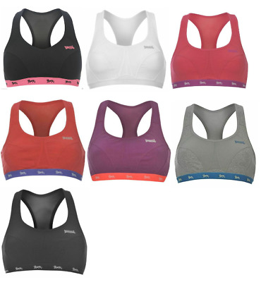 Lonsdale Womens Crop Top Boxed Sports Bra Racer Back Stretch Stretchy