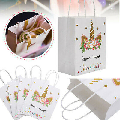 1-24 Unicorn Children Birthday Party Paper Gift Candy Bags Box Loot Bag & Tissue