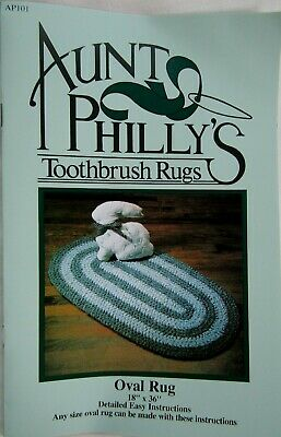 """Aunt Philly's Oval Toothbrush Rugs Pattern 18"""" * 36"""" Rag Rug AP101"""