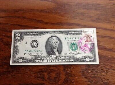 Scarce 1976 $2 TWO DOLLAR BILL with cancelled stamp, Buffalo, NY - UNCIRCULATED