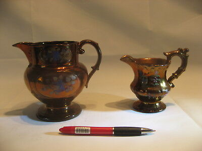 2 Antique Staffordshire Luster Jugs Gaudy Welsh /4085