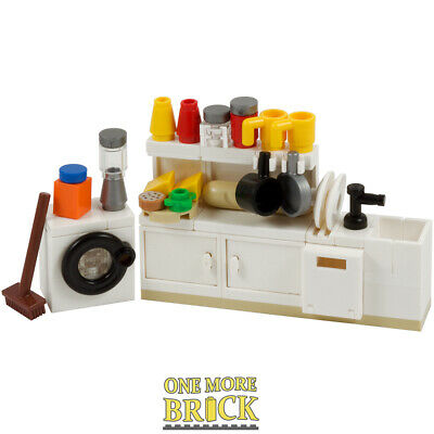 LEGO Kitchen, cabinets, washing machine and food - All NEW pieces