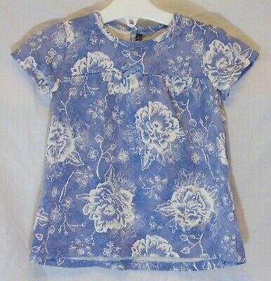 Baby Girls George Blue White Vintage Rose Floral T-Shirt Age 12-18 Months