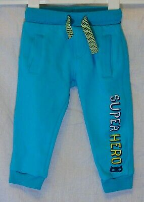 Baby Boys F&F Blue Super Hero Cuffed Jog Pants Casual Joggers Age 12-18 Months