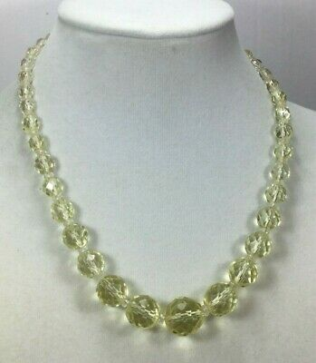 Vintage Art Deco Necklace Glass Faceted Pale Yellow Graduated Clear Disc Choker