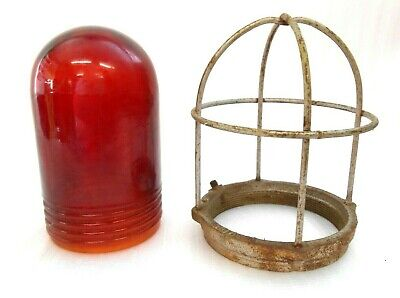 Vintage Crouse-Hinds Industrial  Red Glass #85 Globe & Benjamin cage