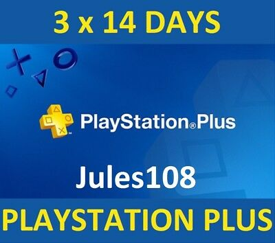 42 DAYS PS + (3 x 14) PLAYSTATION PLUS FOR PS4 [REGION FREE] [READ DESCRIPTION]