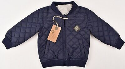 TIMBERLAND Baby Boys' Reversible Quilted Jacket, Navy Blue/Grey, size 2 years