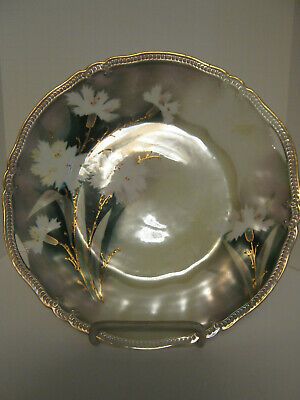 Rs Prussia Closed Handle Plate Beaded Edge Gold Flowers Red Mark