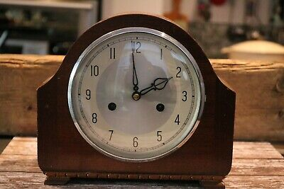 vintage mantel clock Edwardian? victorian ? wood  Smiths on movement