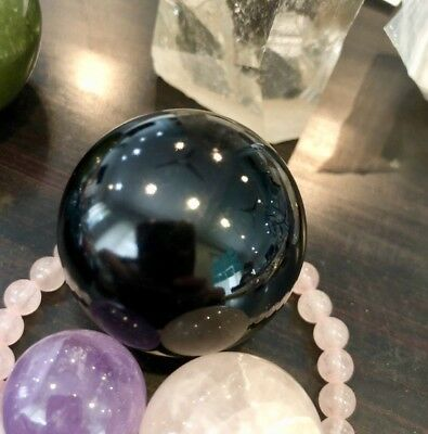 Haunted100%WitchOwned 30mm Scrying Black Obsidian Mirror Crystal Ball,Wood Stand