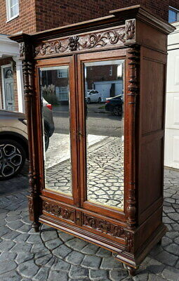 Antique French Carved 2 door Armoire Wardrobe