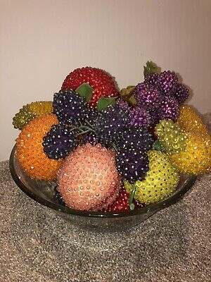 Vintage Retro  Hand Made Beaded Fruit Lot Sequin Pin Kitsch. 60s 70s
