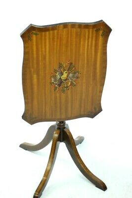 Vintage Retro Painted Mahogany Serpentine Tilt Top Table - FREE Shipping [P4929]