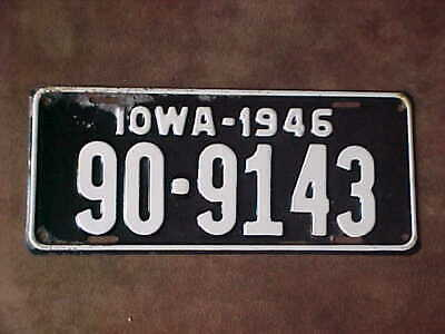 1946 Iowa Car license plate. # 90-9143. Wapello County.