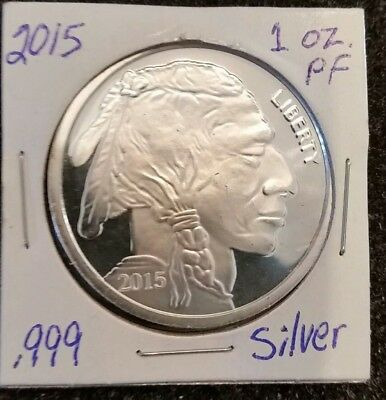 2015 Proof Nickel Liberty Indian Head Buffalo-1 Oz Troy .999 Silver