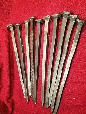 Lot 10 HUGE ANTIQUE 18-19 century  HANDFORGED IRON NAILS SPIKES SCANDINAVIA