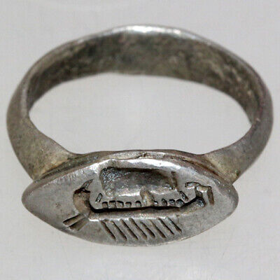 Roman Military SILVER Seal Ring With Military Ship Depiction Circa 100-200 AD