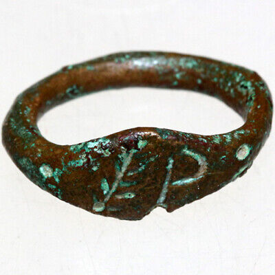 Late Roman Or Byzantine Bronze Seal Ring Depicting BRUNCH And Letter P