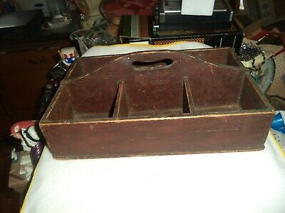 Antique Primitive Old Red Wash Wood Caddy Divided Tote Tray Knife Tool Box