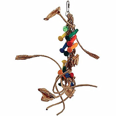 Jupiter Chewable Foraging Parrot Toy - A Medium Sized Paper Rope Toy With Wood
