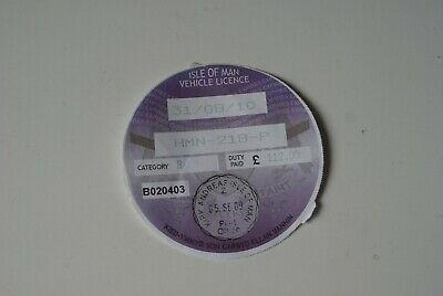 Isle of Man Road Tax Disc August 2010