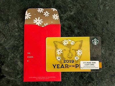 Starbucks Lunar New Year Of The Pig Gift Card With Custom Red Sleeve 2019