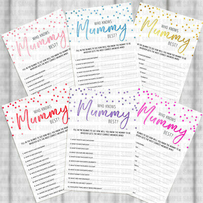 Pack of 25 Who Knows Mummy Best Baby Shower Game New Mum to be Games FM2104