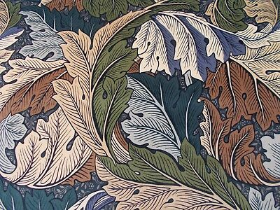 William Morris Curtain Fabric ACANTHUS 0.5 METRES (50cm) Slate Blue/Thyme Velvet
