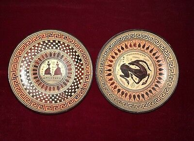 Set Of Two(2) Handmade Clay Wall Trays Replicas Of 700 BC Geometric Period