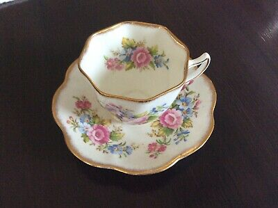 Vintage Rosina Floral Bone China Made in England Tea Cup and Saucer Gold Trim
