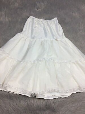 Vintage Girls Lace Sheer Ruffle Petticoat Skirt Ivory White