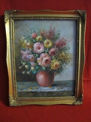"Artist signed W Adams Floral Still Life Original Oil Painting Wood Frame 8""X10"""